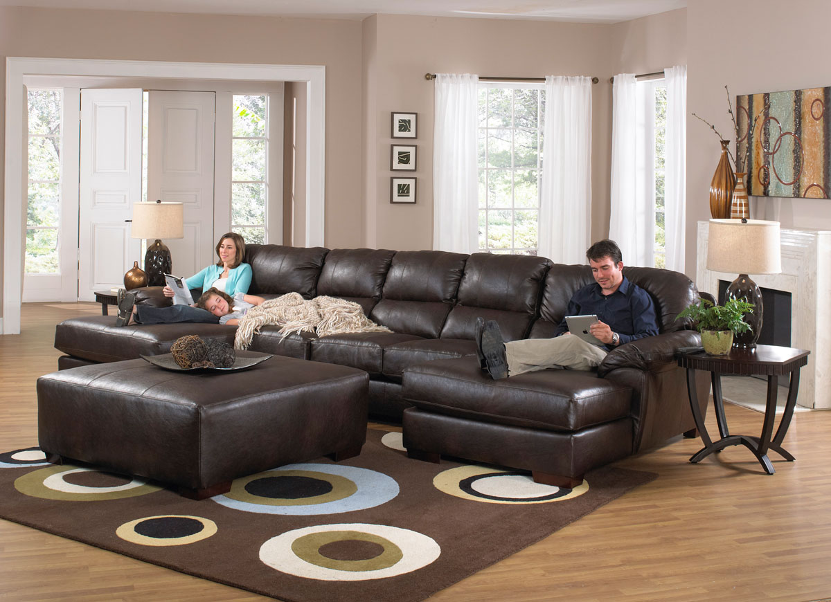 Comfortable Den Furniture Jackson Lawson Sectional Sofa Set A Godiva Jf 4243 76 75