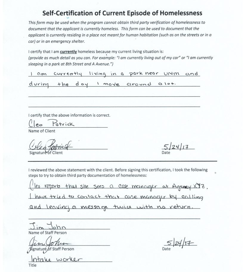 Self-Certification Examples - Homelessness Definition and Documentation