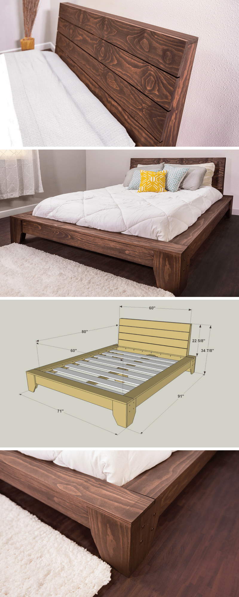Cheap Wooden Bed Frames 36 Easy Diy Bed Frame Projects To Upgrade Your Bedroom Homelovr