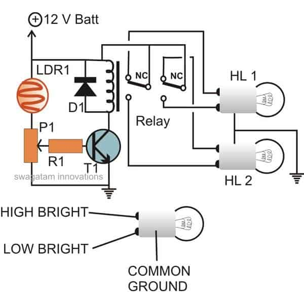 wiring diagram for headlight relay