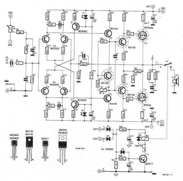 high power 250 watt mosfet amplifier dj circuit electronic circuit