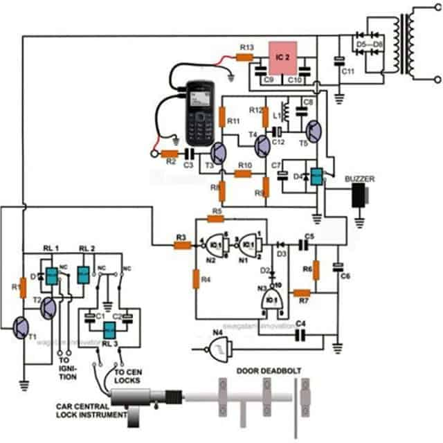 cell phone controlled door lock circuit homemade circuit projects