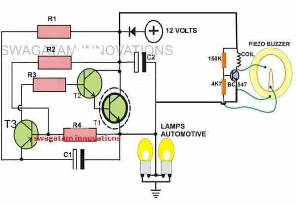 2-Pin Motorcycle Turn Signal Indicator Circuit with Beeper