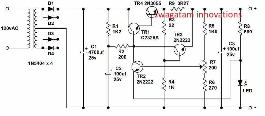 power supply using transistor electronic projects circuits