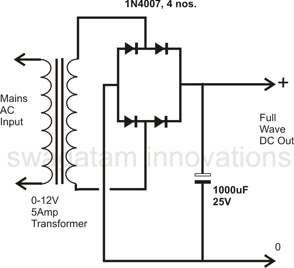 transformer bridge rectifier circuit