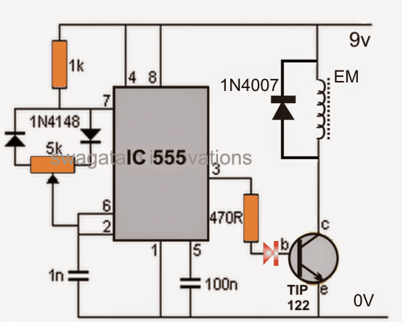 a circuit diagram of an electromagnet