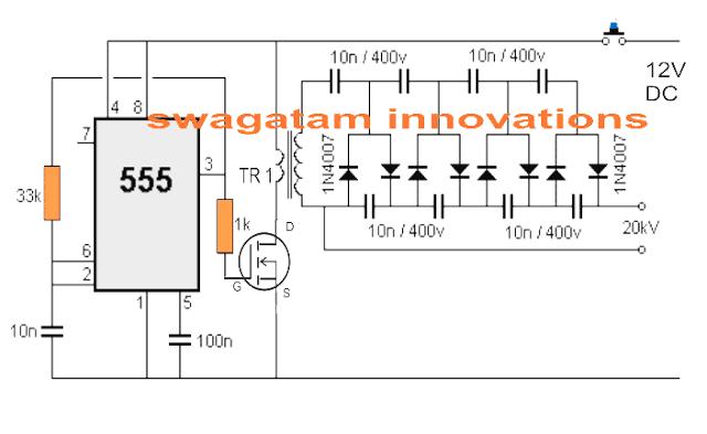 1800v stun gun circuit