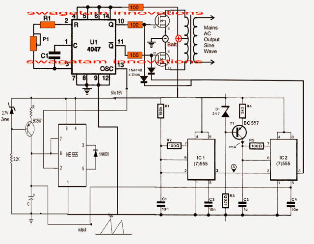 pure sine wave inverter using ic 555 electronic circuit projects