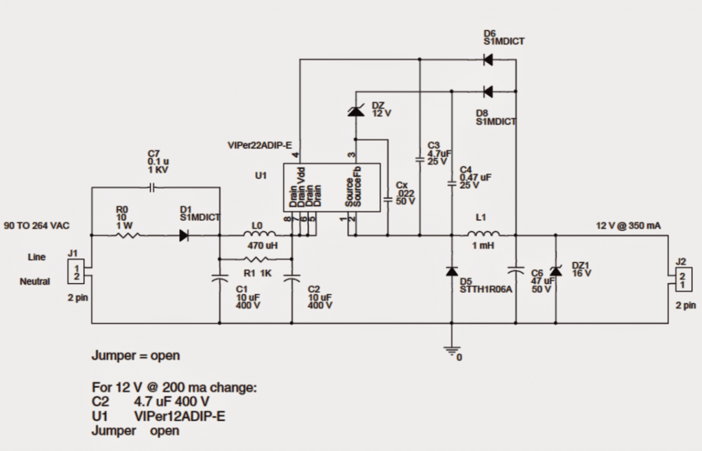 1 watt led driver circuit