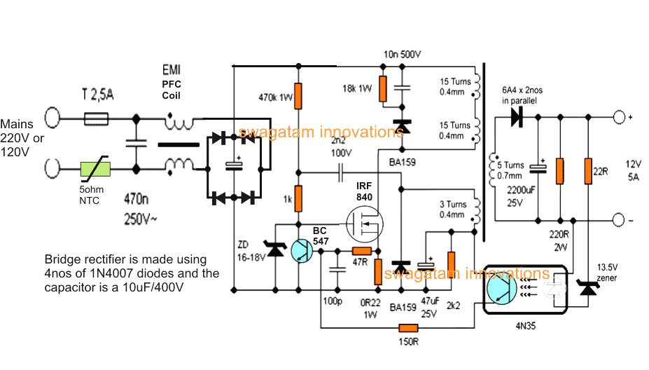 12v dc smps power supply circuit diagram