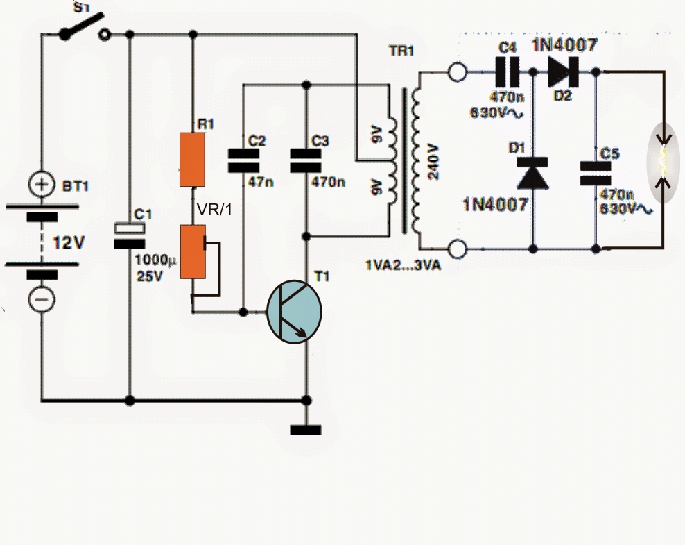circuit diagram high voltage generator