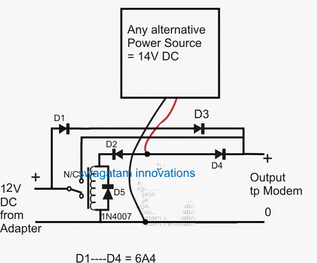simple dc ups circuit for modem router