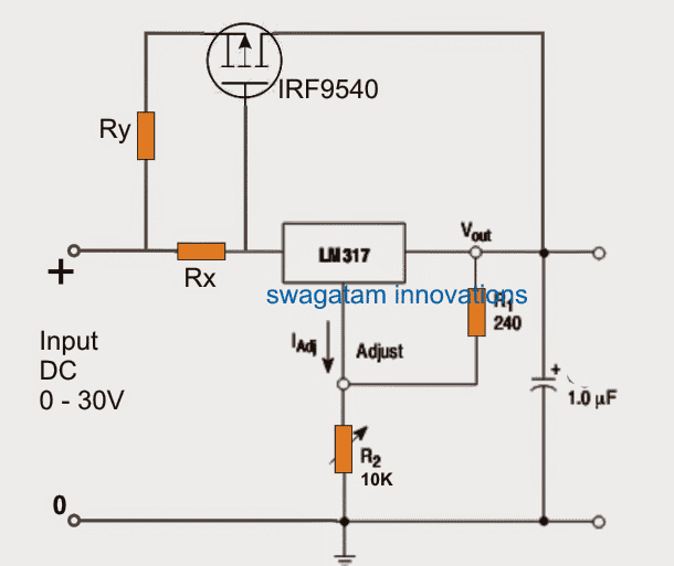 simple regulator circuits with current limit by fet