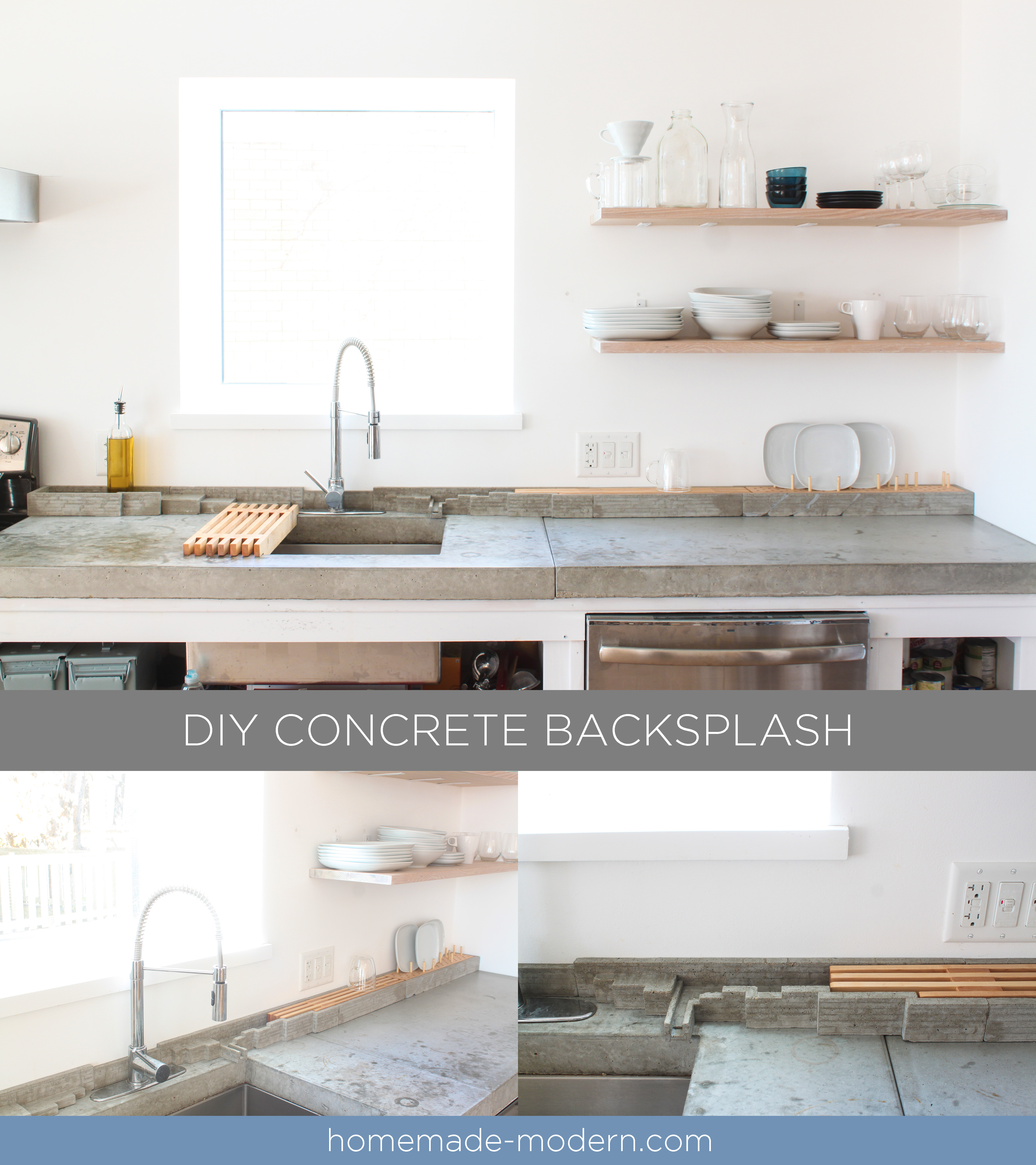 Concrete Countertops Book Homemade Modern Ep120 Diy Concrete Backsplash