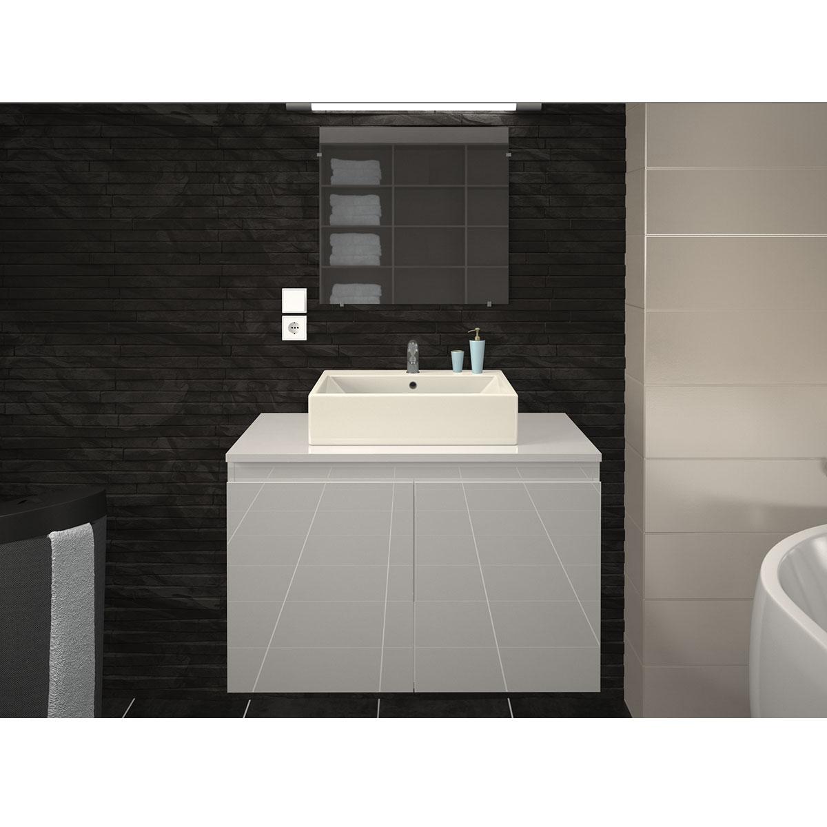 Meuble Et Vasque De Salle De Bain En 80 Cm Blanc Gris