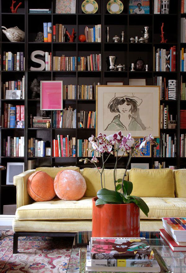 purple-home-library-ideas - home library ideas