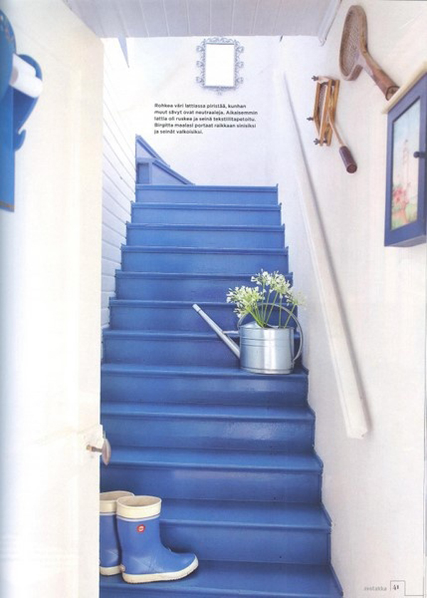Bedroom Furniture Ideas Bright-blue-painted-stairs