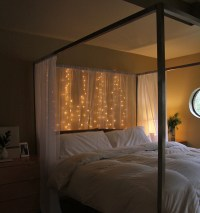 15 DIY Curtain Headboard With Christmas Lights