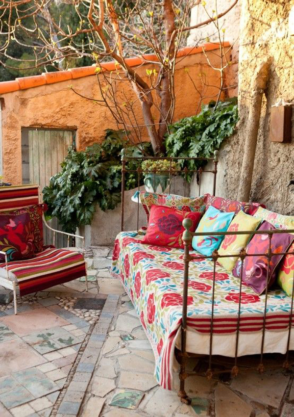 Bett Shabby Look 15 Inspiring Bohemian Porch With Colored Textiles | Home