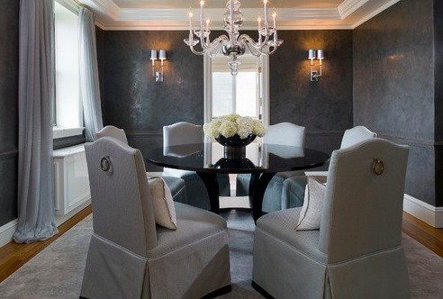 Darker Grey Elegant Dining Room Color Schemes | Home Interiors