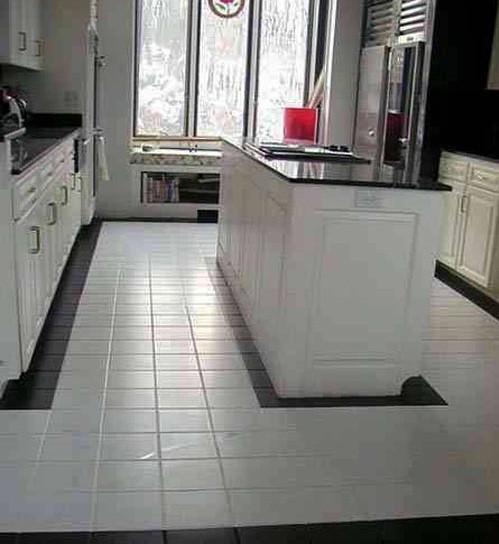 white clean kitchen designs with ceramic tile floor Home Interiors - kitchen tile flooring ideas