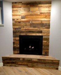 Simple fireplace decoration with reclaimed wood paneling ...