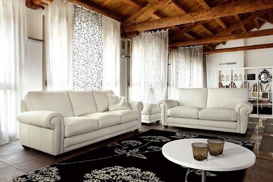 Chic Sense with Leather Living Room Furniture Sets Home Interiors - white leather living room furniture