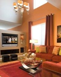 Accent wall color for living room with maroon sofa set ...