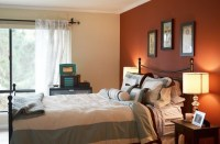 Light maroon and light brown accent wall color for bedroom ...
