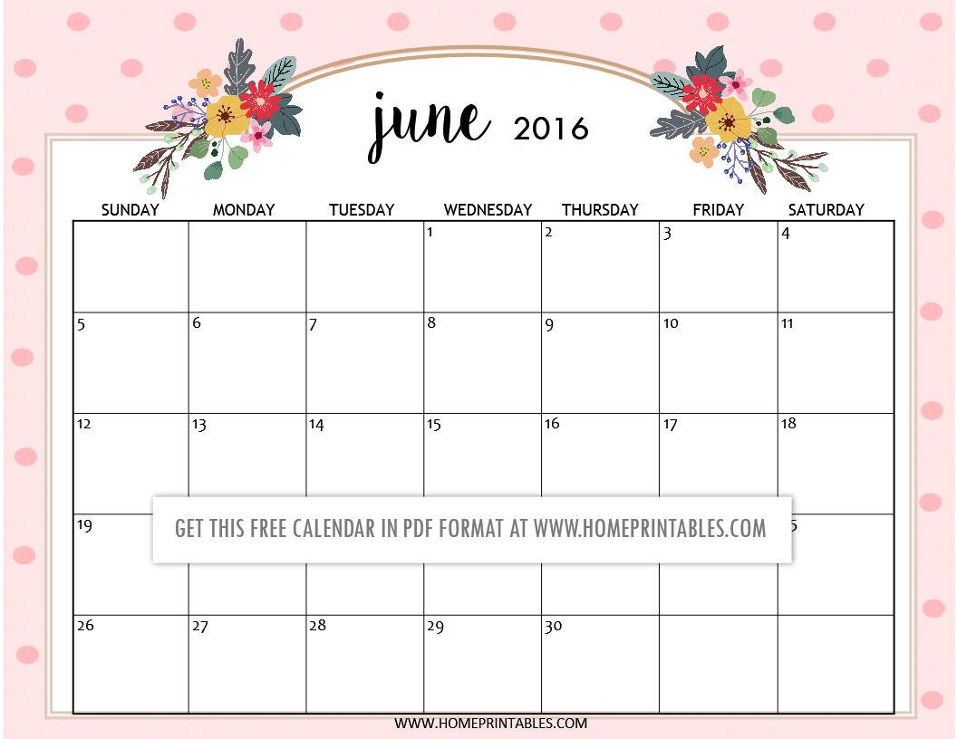 Calendar Planner June : Cute free printable calendars home printables