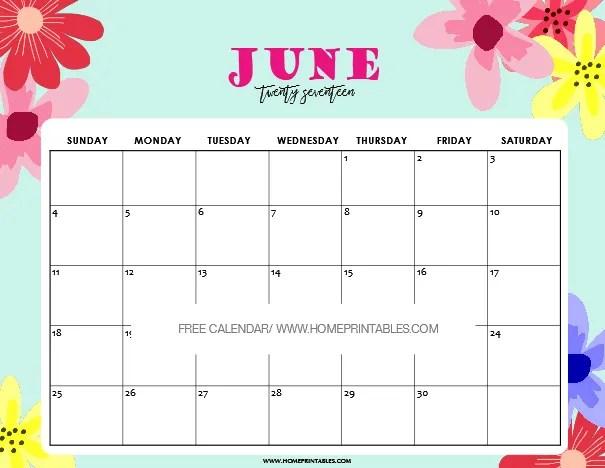 June 2017 Calendar Printable: 8 Fun and Pretty Designs! - Home ...