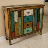 Delaney Antique Multicolor Distressed Wood Storage Cabinet