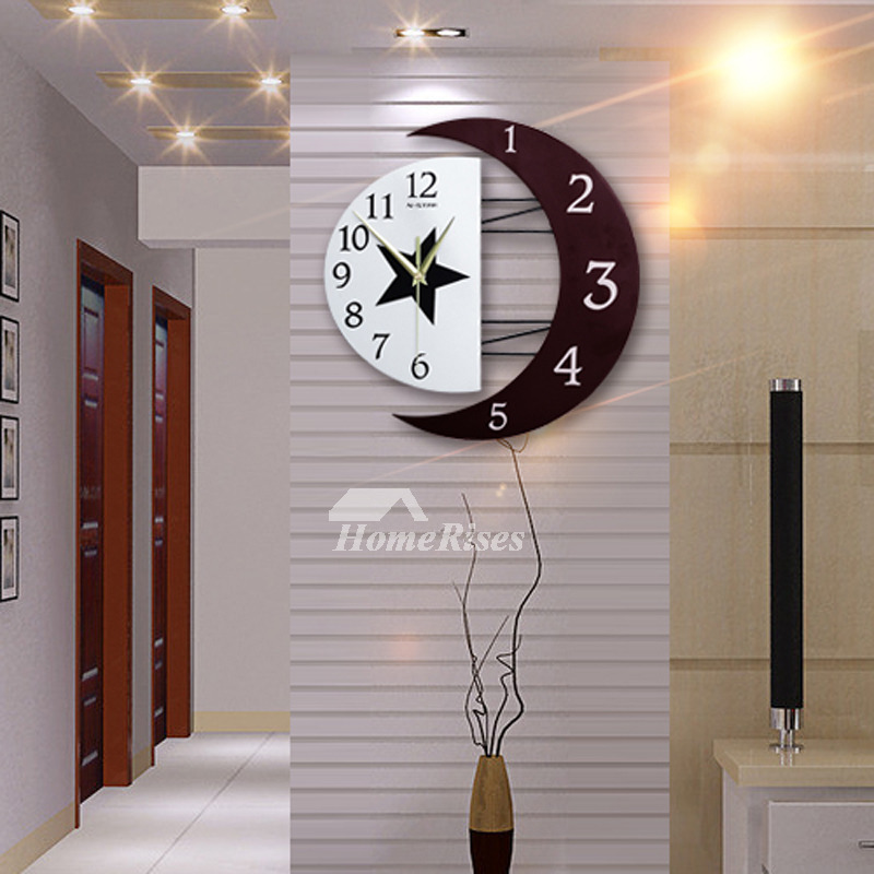 Battery Operated Wall Sconces Living Room Wall Clocks Silent Modern Creative Wooden