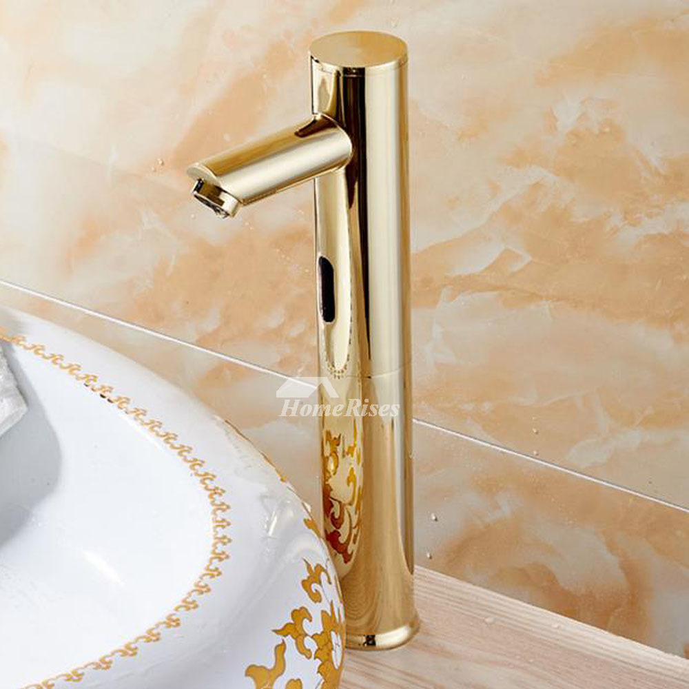 Battery Operated Wall Sconces Touchless Bathroom Faucet Gold Polished Brass Hands Free