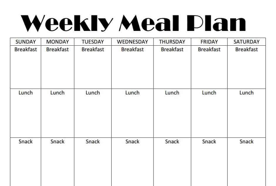 Printable Weekly Meal Plan Template Homeschool Base