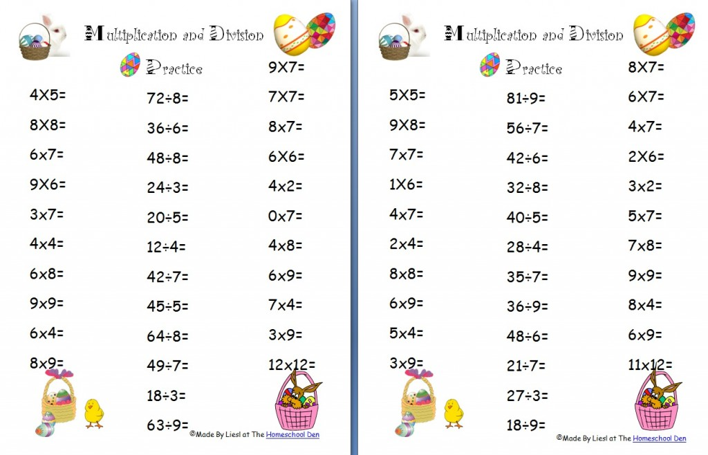 Free Easter Multiplication and Division Worksheets - Homeschool Den - multiplication and division worksheet