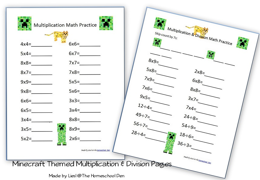 Search Results minecraft - Homeschool Den - multiplication and division worksheet