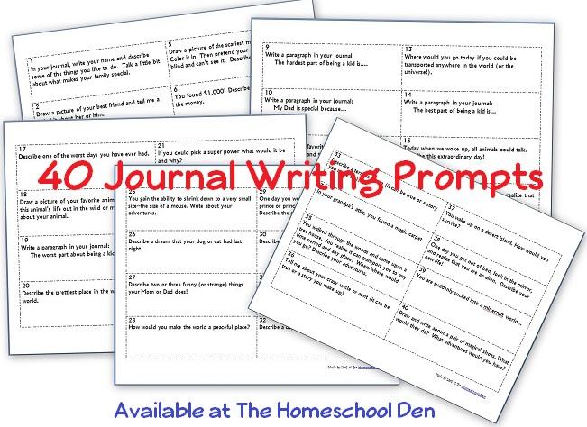40 Journal Writing Prompts (Free Printable) - Homeschool Den