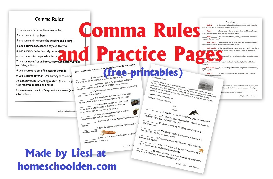 Comma Rules and Practice Pages (Free Grammar Worksheets - comma and and