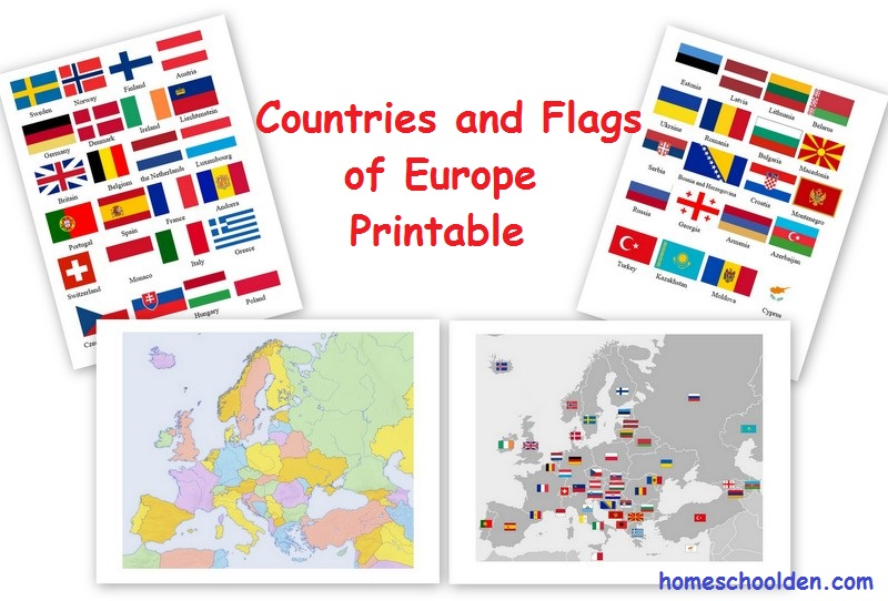 Europe - Countries and Flag Maps Free Printable - Homeschool Den