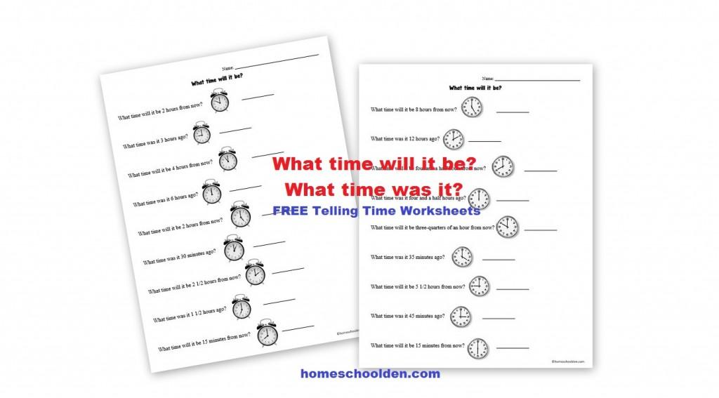 Free Telling Time - Analog Clock Worksheets - Homeschool Den - time worksheets