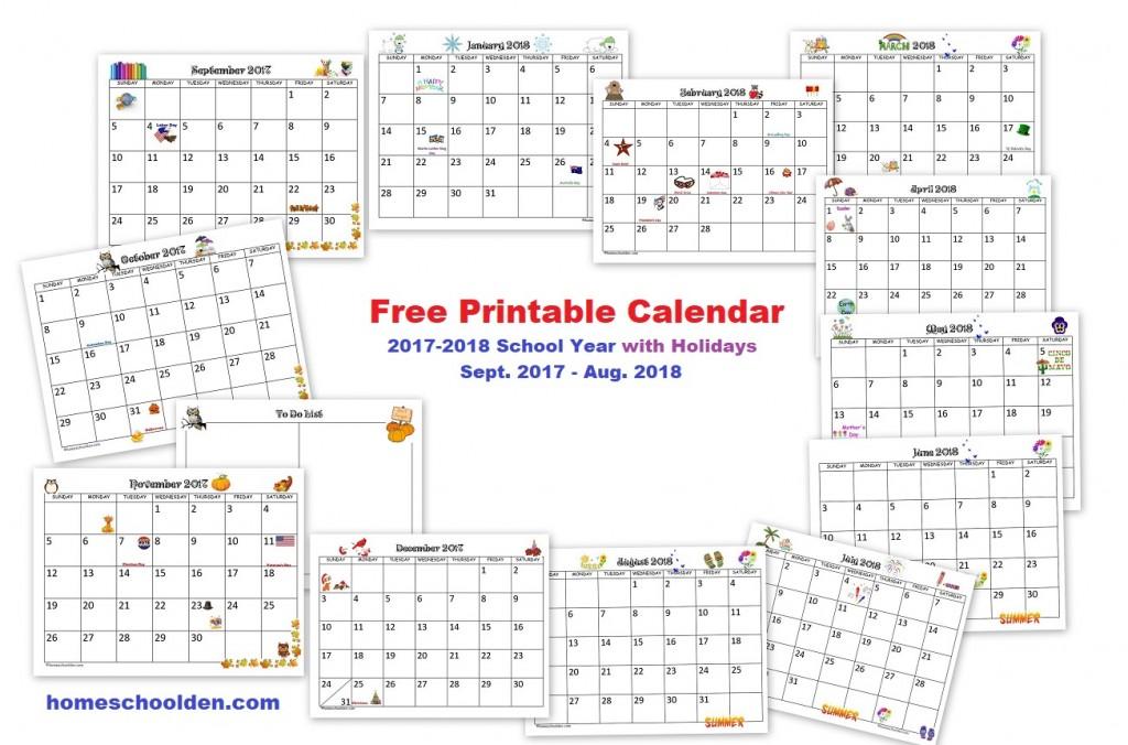 Free Printable Calendar 2017-2018 School Year - Homeschool Den - free printable calendar