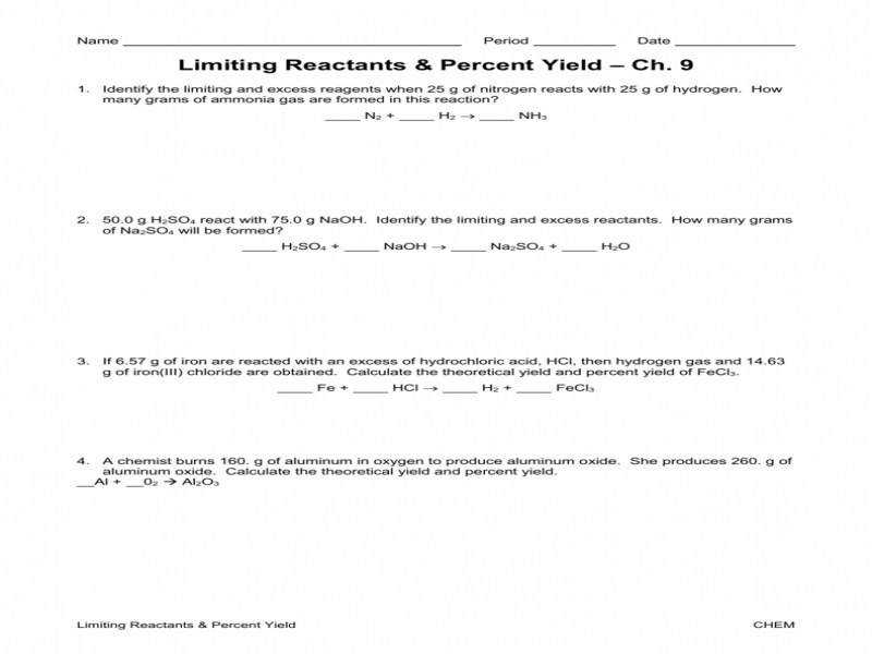 limiting reagent worksheet 1 answer key with work limiting reagents and percentage yield