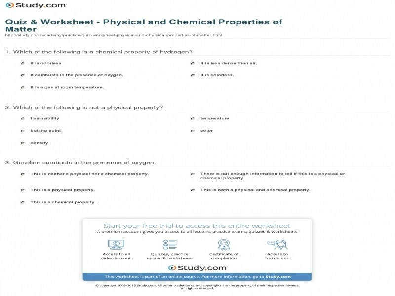Physical And Chemical Properties Worksheet Ivoiregion