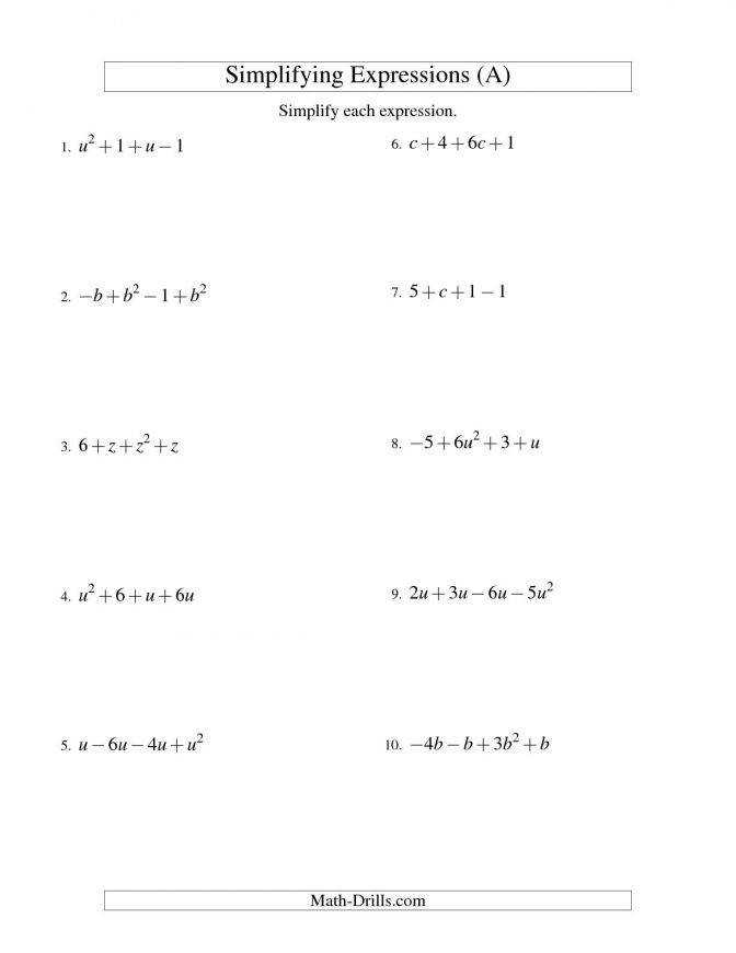 Simplifying Algebraic Expressions Worksheet Homeschooldressage