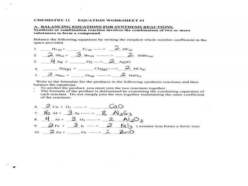 Amazing Chemistry Worksheet Writing And Balancing Chemical Reactions ...