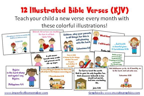FREE Printable Illustrated Bible Verse Cards - Homeschool Giveaways