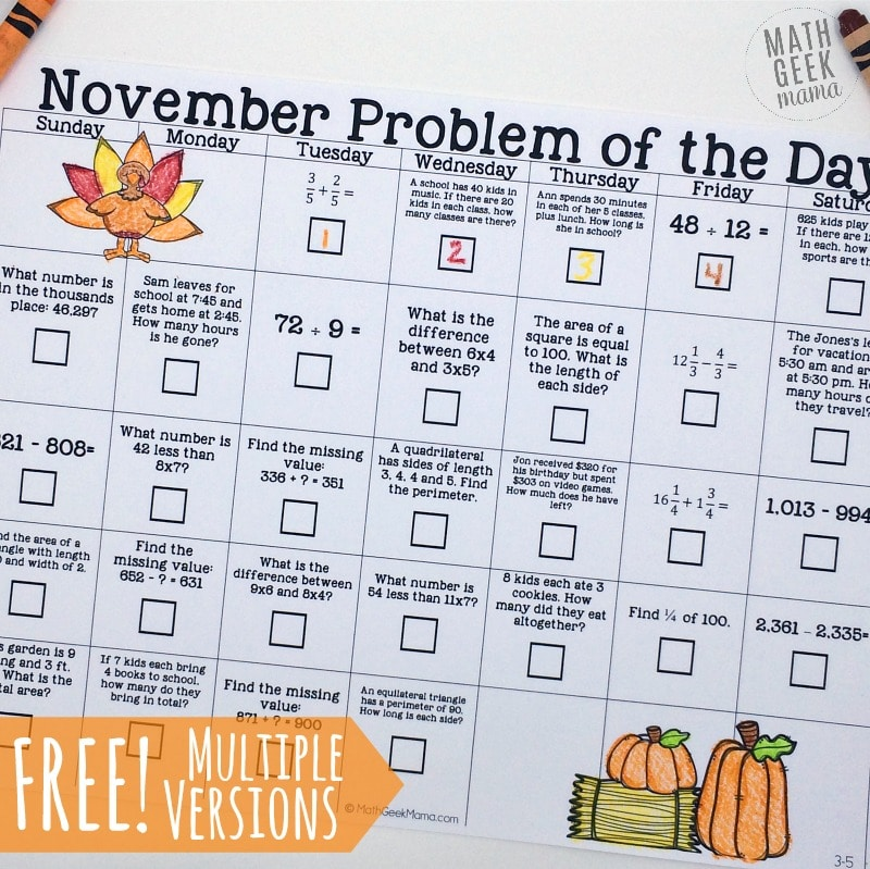 Free November Math Calendars - Homeschool Giveaways