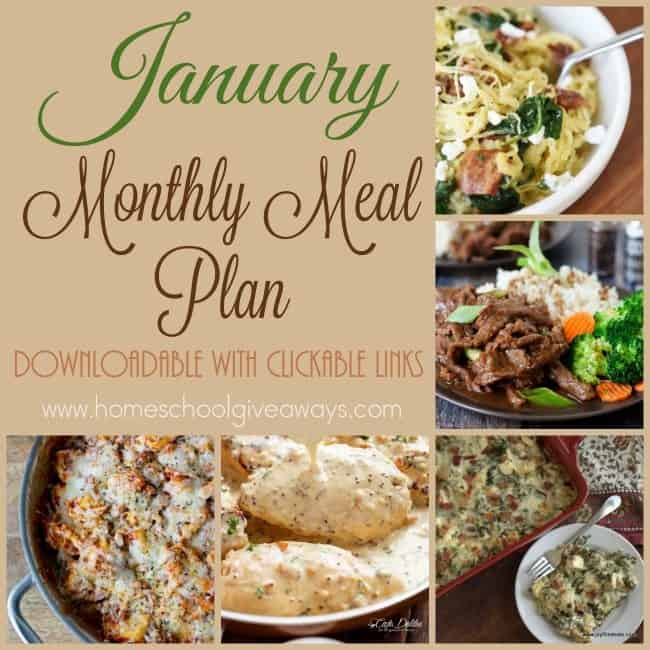 January 2017 Meal Plan {Downloadable with Clickable Links}