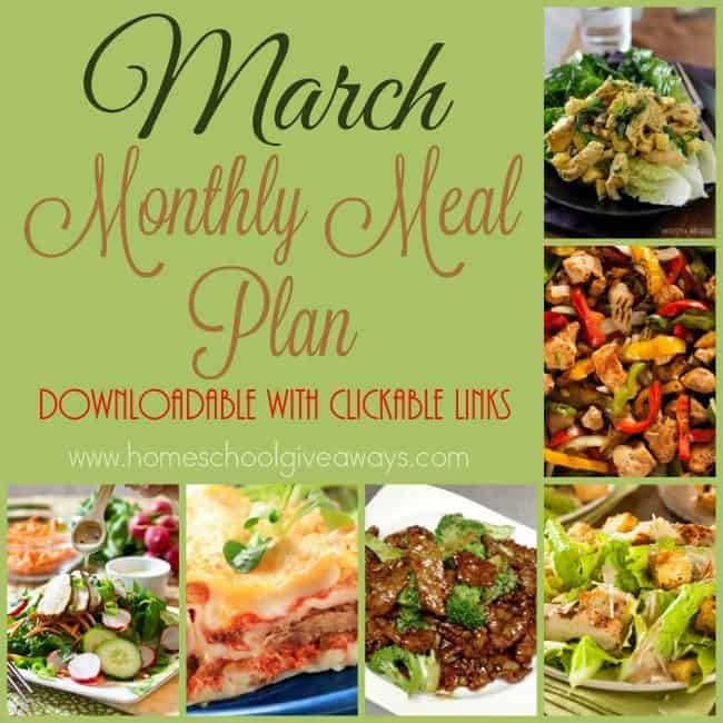 March Meal Plan {Downloadable with Clickable Links}